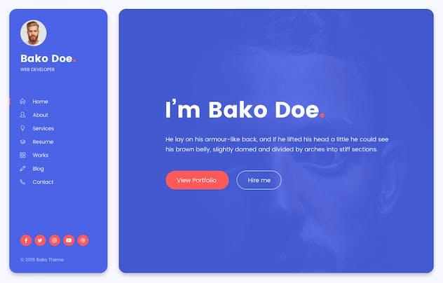 Bako - Personal Portfolio & Resume HTML Template - product preview 1