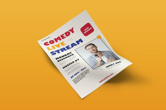 Comedy Live Stream Flyer Template Vol. 01 - product preview 2