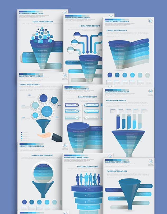 Blue Filter Funnel Infographics - product preview 1