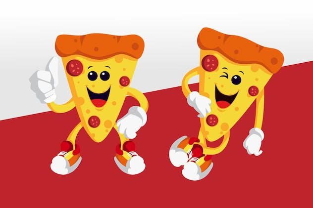 Pizza Mascot Character Set - product preview 0
