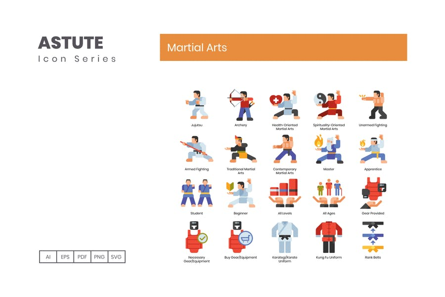 70 Martial Arts Icons | Astute Series - product preview 2