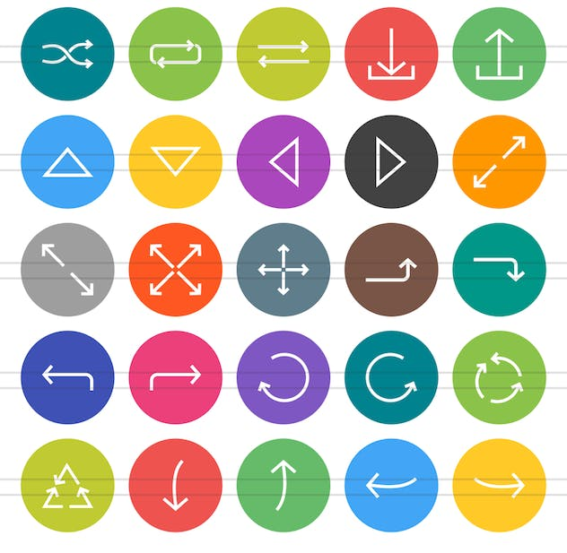 50 Arrows Flat Round Icons - product preview 2
