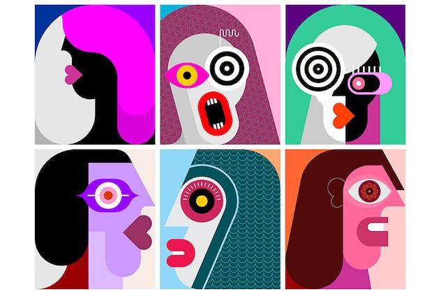Six Portraits / Six Faces vector illustration