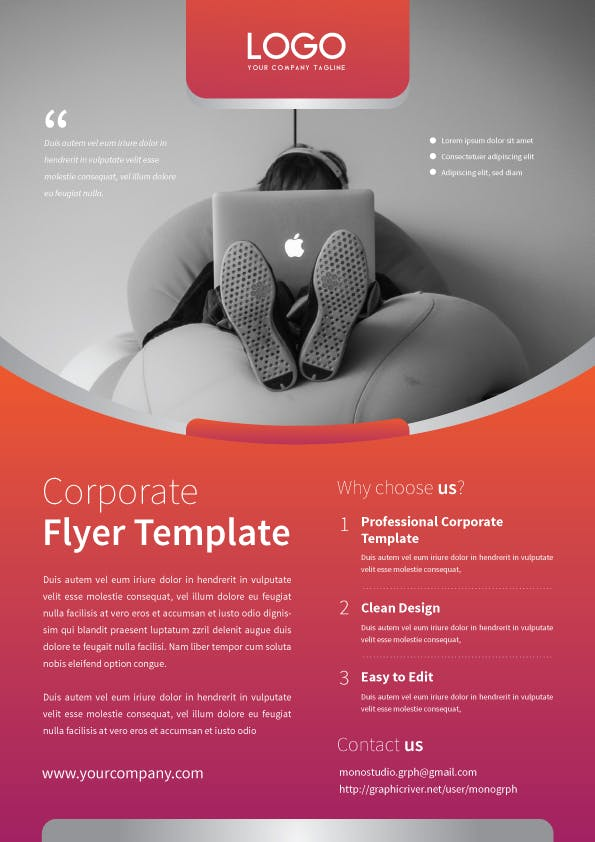 Corporate Flyer Template By MONOGRPH On Envato Elements - Company flyer template