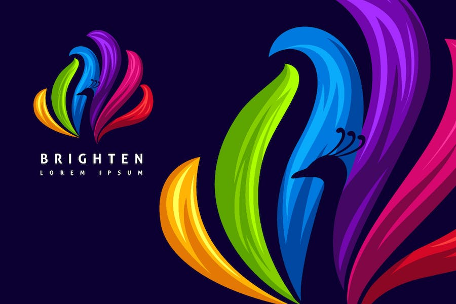 Beautiful Colorful Negative Space Peacock Logo - product preview 1