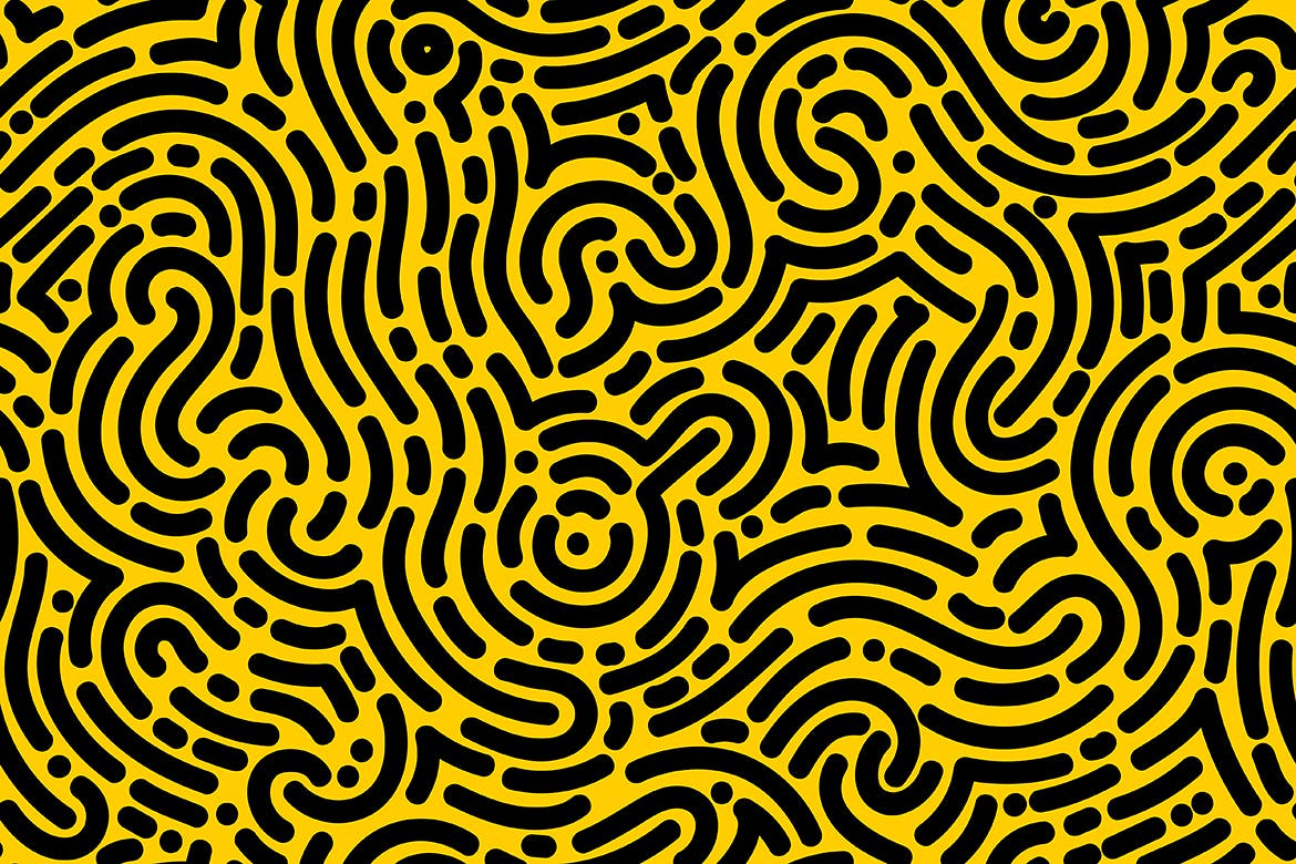 Organic Rounded Jumble Maze Lines Seamless Pattern by