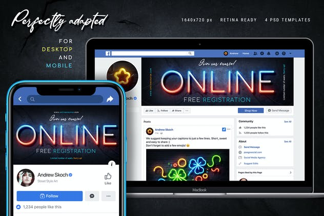 Neon Facebook Covers - 4 PSD - product preview 5