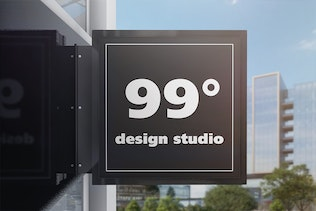 Thumbnail for Building Advertising Square Sign Mockup