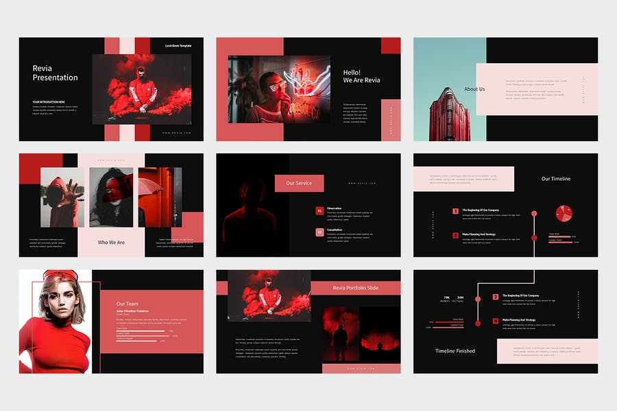 Revia : Red Gradient Color Tone Keynote - product preview 7
