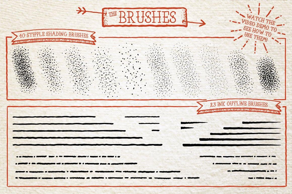 Illustrator纹身风格艺术笔刷Tattoo Style Art Brushes插图4