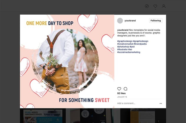 Valentines Instagram Templates - product preview 6