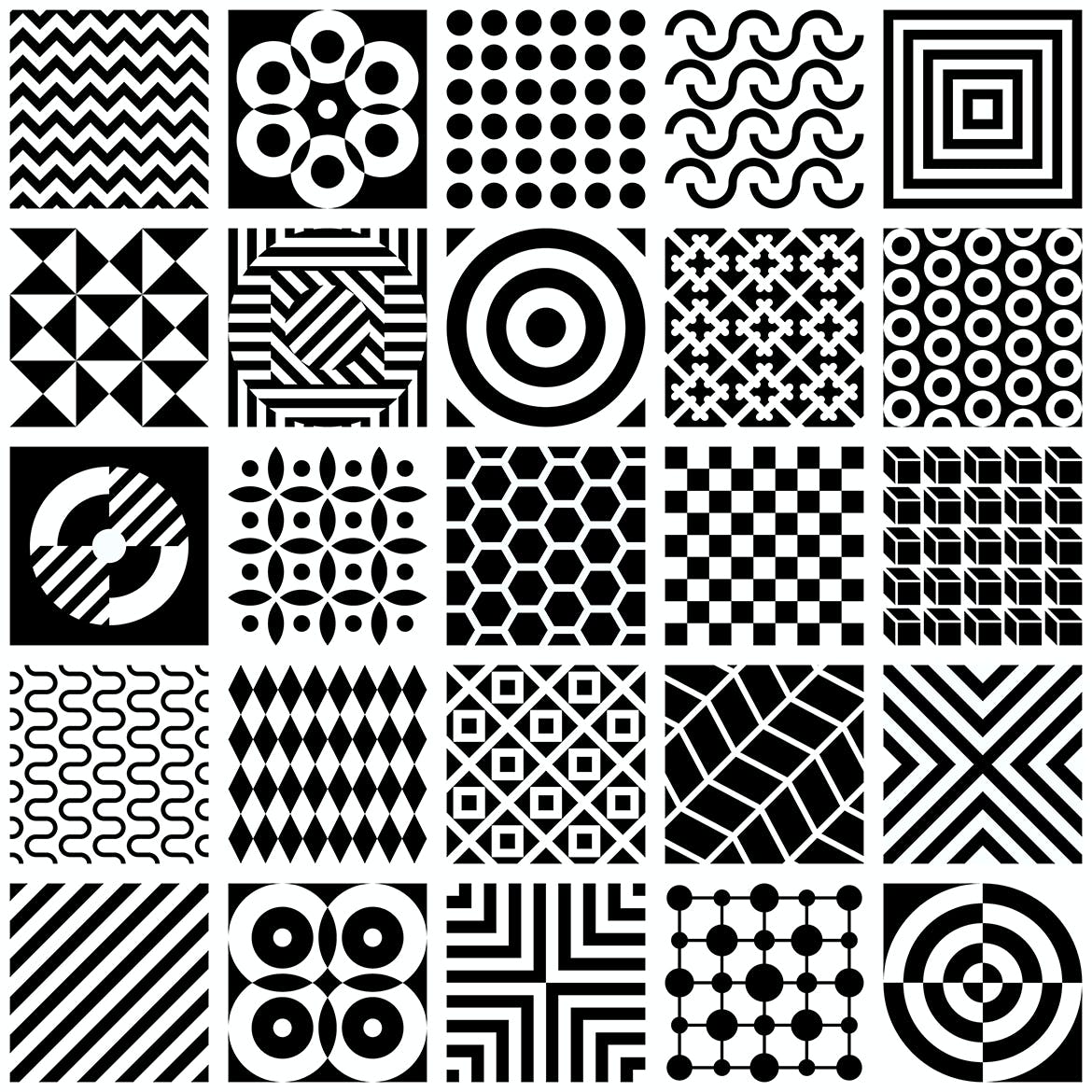 Black And White Geometric Patterns Vector Artwork By Danjazzia On