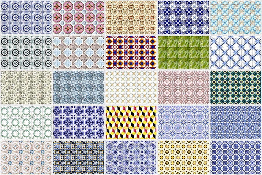 200 Seamless Portugal Azulejo Tile Backgrounds - product preview 4