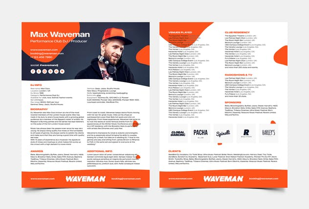 DJ & Producer Press Kit / Resume / Rider Template - product preview 1