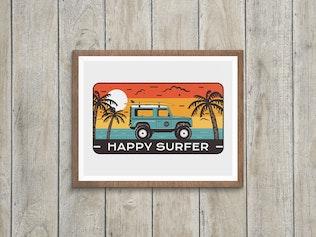 Happy Surfer Badge / Vintage Travel Logo
