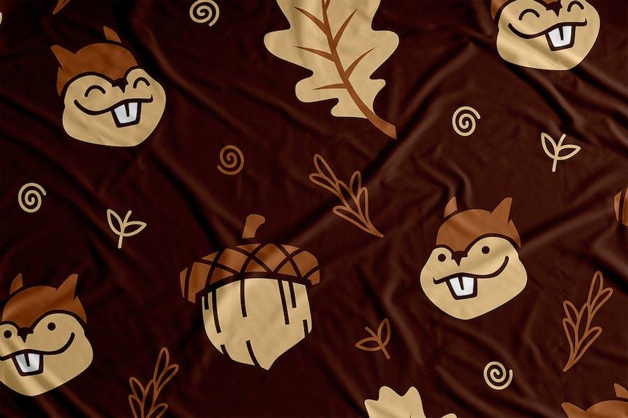 Squirrel Cartoon Vector Seamless Pattern Backgroun