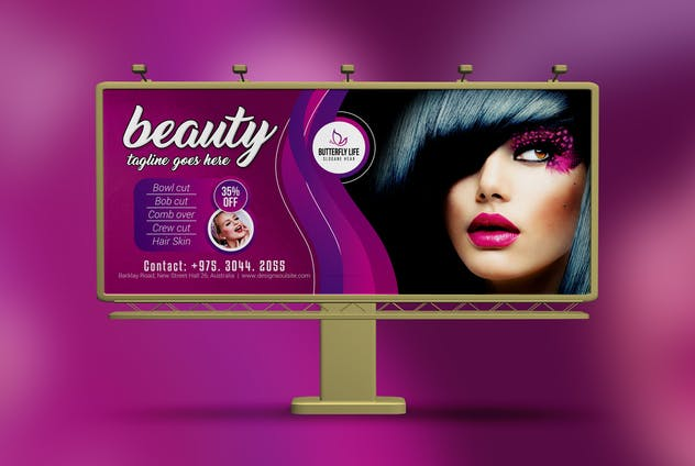 Golden Beauty Salon Billboard - product preview 1
