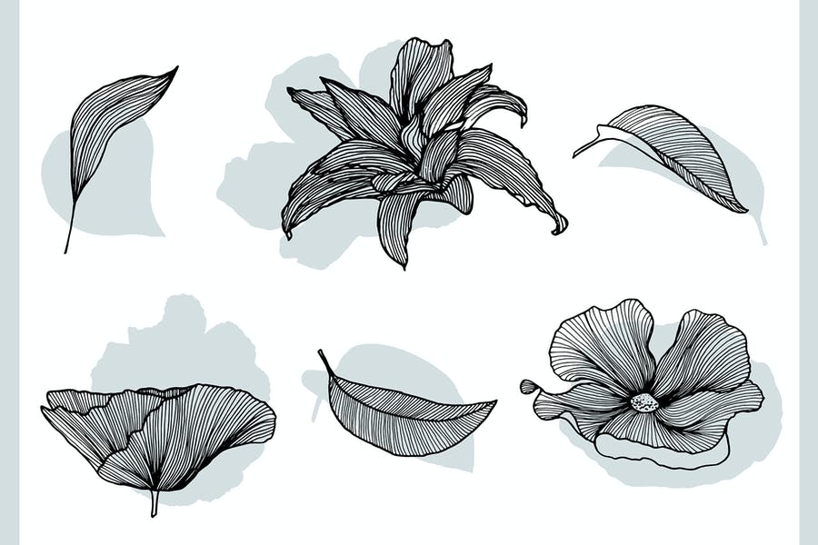 Lineart Floral Patterns & Elements - product preview 9
