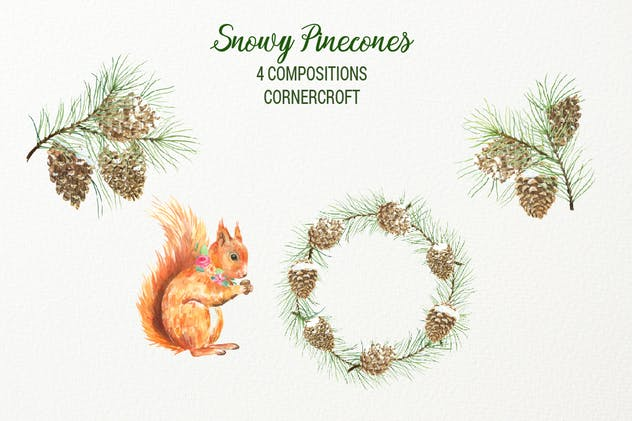 Watercolor Snowy Pinecones - product preview 3
