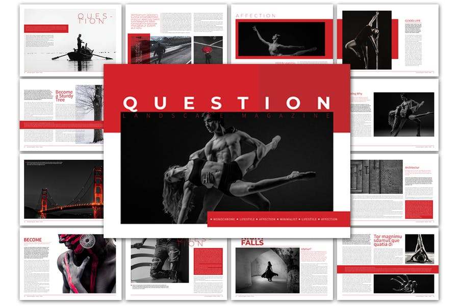 Question Landscape Magazine Template - product preview 3