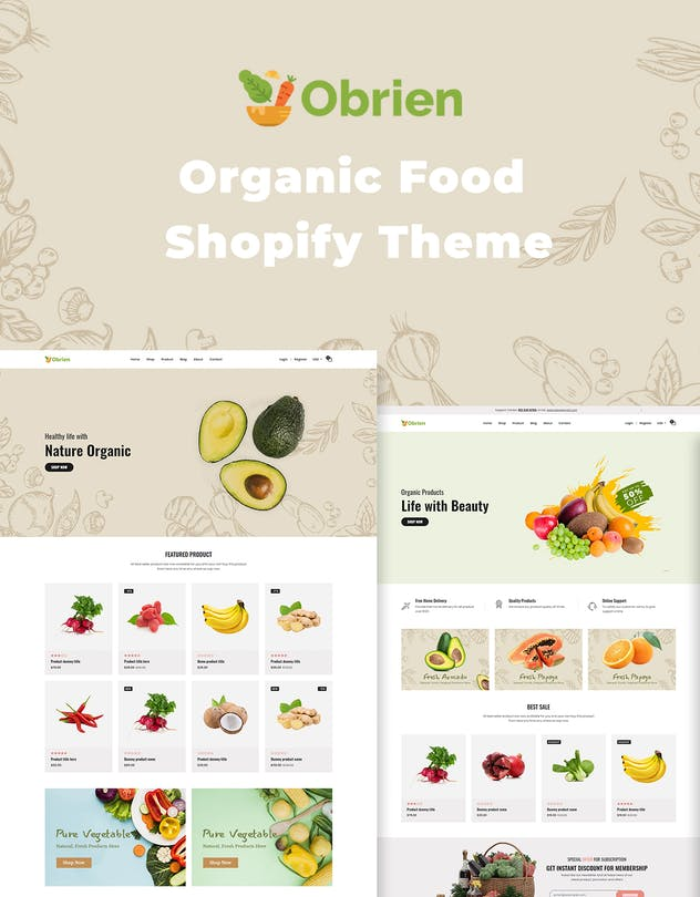 Obrien – Organic Food Shopify Theme - product preview 1
