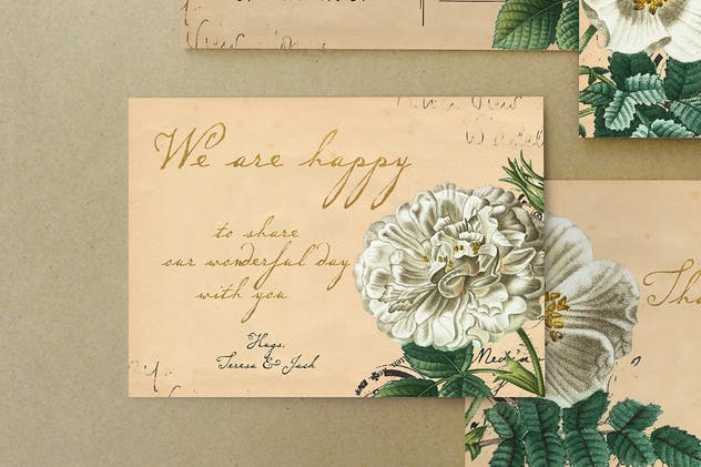 Vintage Floral Postcard Invitation Package - product preview 2