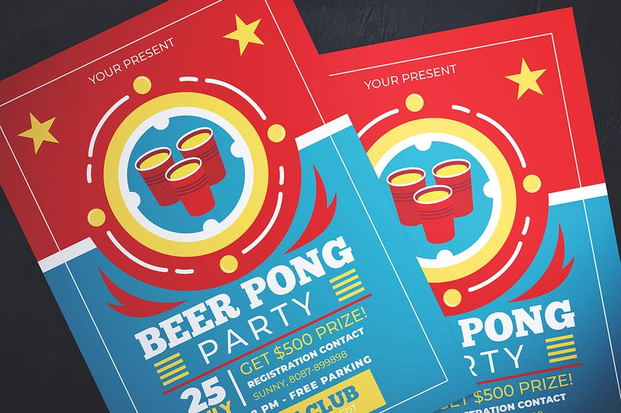 Beer Pong Party Flyer - product preview 1