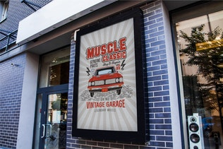 Thumbnail for Muscle Classic Tee Design / Old Car T-Shirt Label