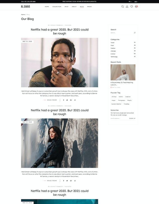 Alohan | Minimalist Fashion PSD Template - product preview 3