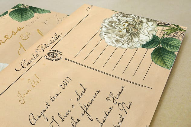 Vintage Floral Postcard Invitation Package - product preview 3