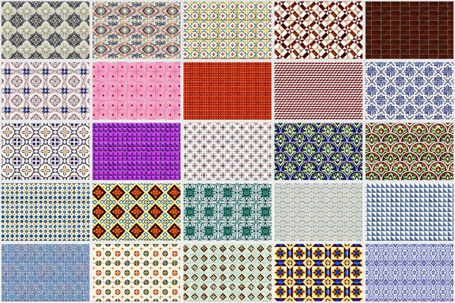 200 Seamless Portugal Azulejo Tile Backgrounds - product preview 6