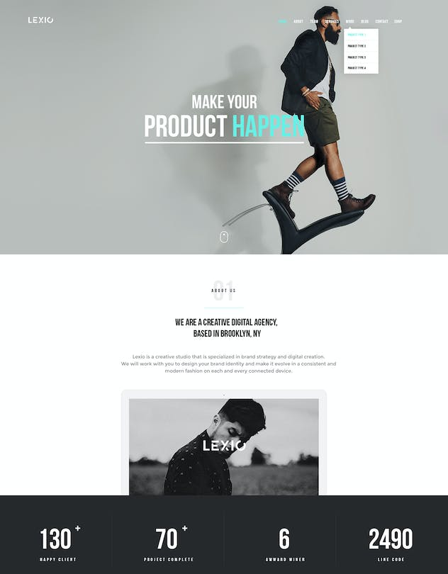 Lexio - Onepage Creative HTML Template - product preview 0