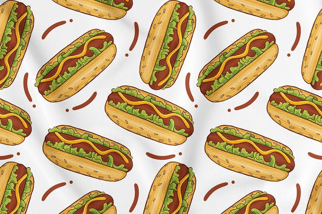 Hotdog Seamless Pattern - product preview 0