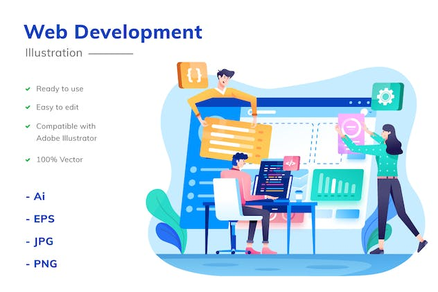 Web Development Illustration - product preview 1