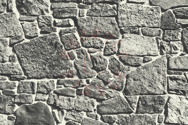 Halftone Brick & Stone Wall Textures - product preview 5