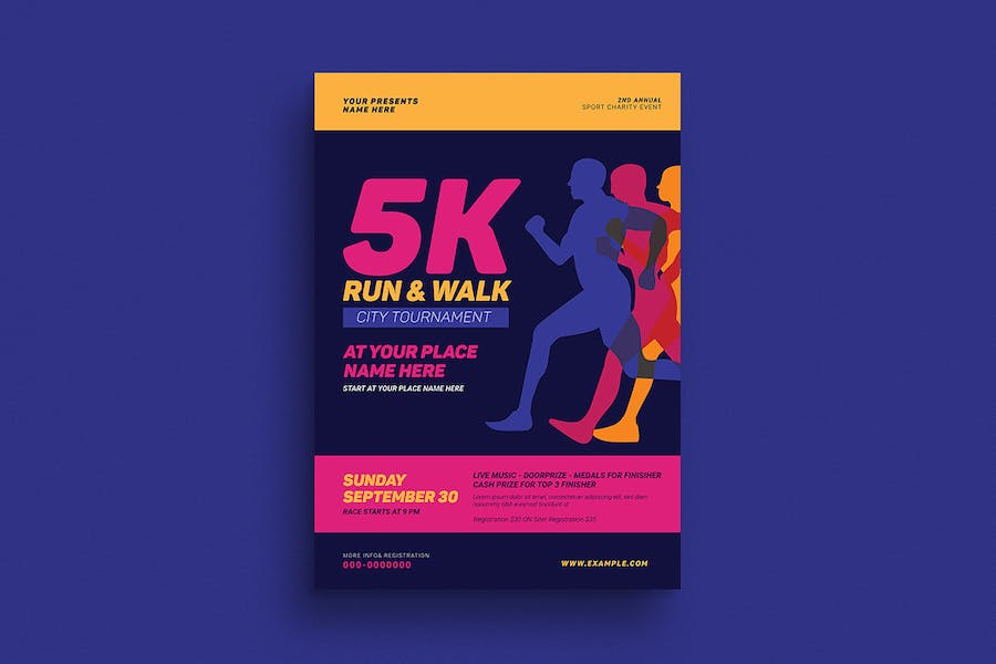 5k Run & Walk Event Flyer - product preview 1