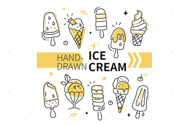 Hand-drawn ice cream collection - set of elements - product preview 0