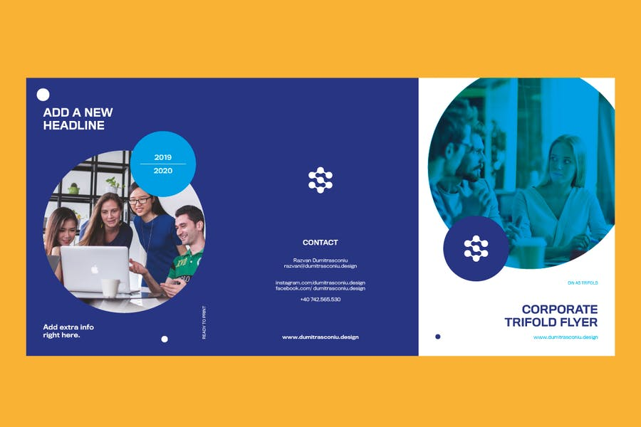 Corporate A5 Trifolder Flyer - product preview 1