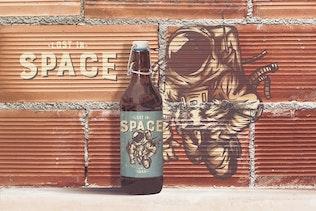 Brick Backgrounds 50cl Beer Bottle Mockup Vol.2