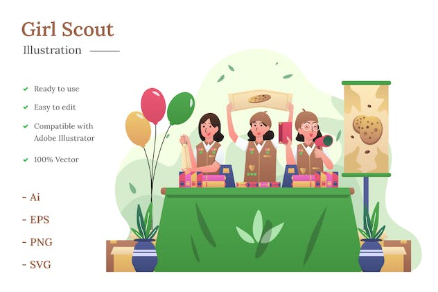 Girl Scout Illustration