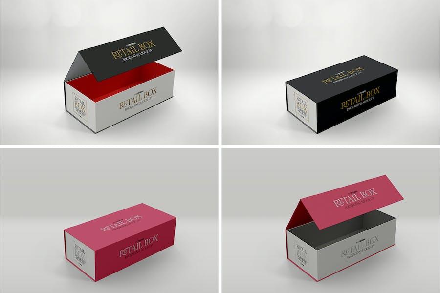 Magnetic Narrow Folding Box Mockup Design Template Place