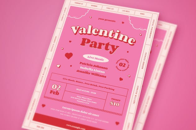 Valentine's Day Party Flyer Set - product preview 2