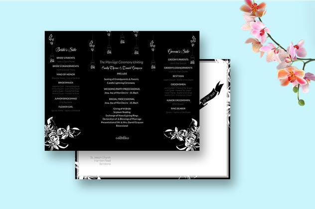 DIY Black & White Wedding Invitation PSD Template