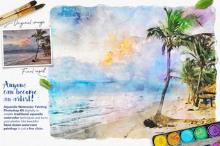 Thumbnail for Aquarelle Watercolor Painting Photoshop Action