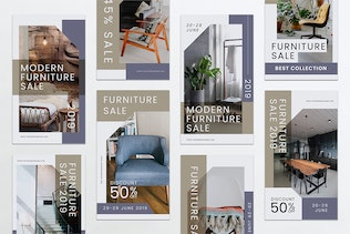 Thumbnail for Furniture Instagram Stories PSD & AI Template