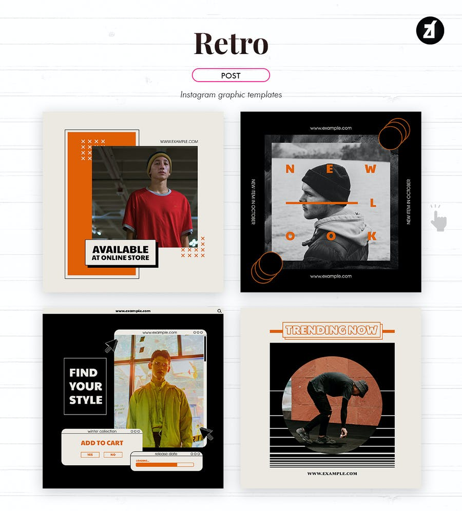 Retro social media graphic templates - product preview 2