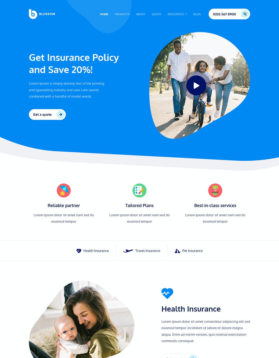Blussom Insurance Service Landing Page Template  - product preview 4