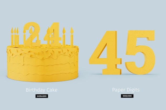 Paper model Birthday Cake DIY - product preview 1