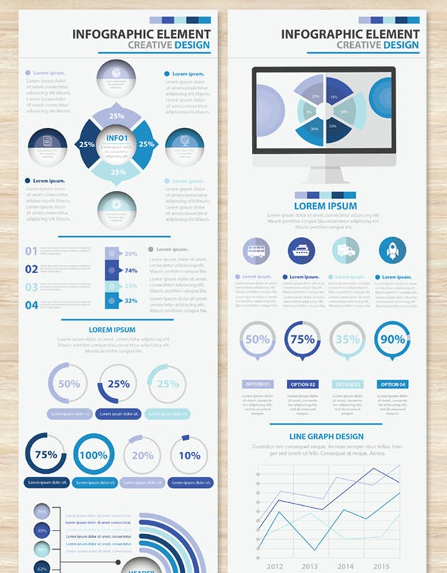Big Blue Infographic Elements Design Scheme V.5 - product preview 9