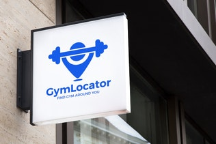 Thumbnail for GymLocator : Negative Space Location Pin Logo